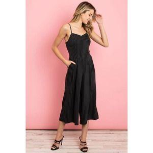 Black Striped Cropped Leg Jumpsuit